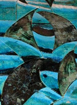 Italian Ceramics by Claudio Pisapia, Montepescali: a blue Raku ceramic plaque