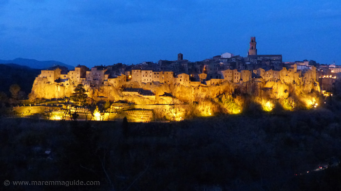 Pitigliano Tuscany Italy at night.