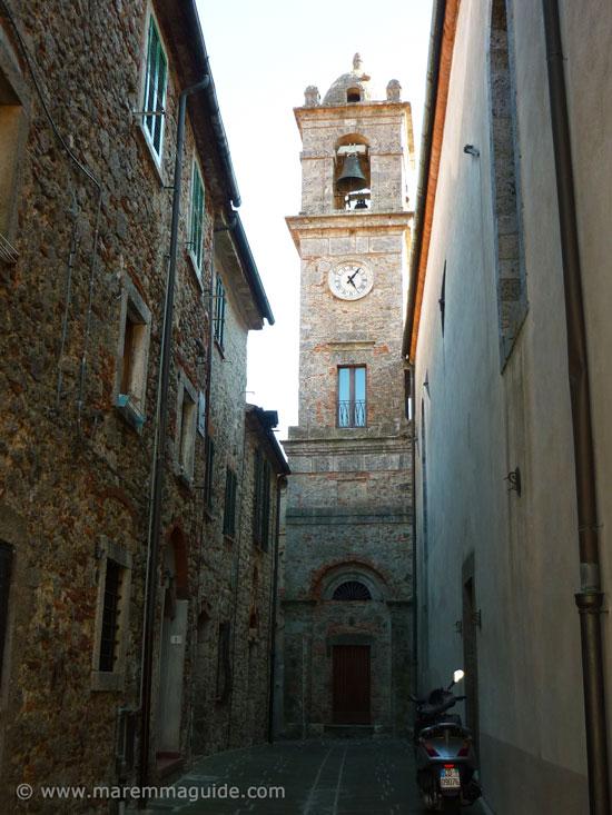 Prata: Via dell'Orologio with the Chiesa Parrocchiale ed il Campanile
