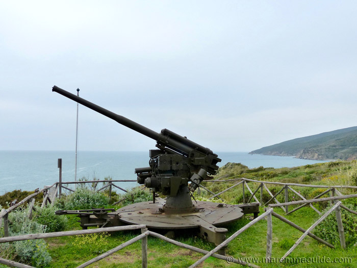 Ansaldo 90/53 cannon Punta Falcone Tuscany Italy.