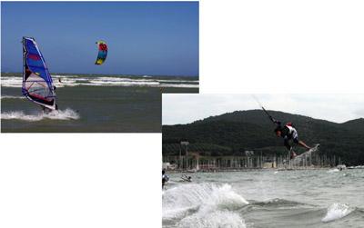 Puntone beach kite surfing and windsurfing Maremma Tuscany Italy