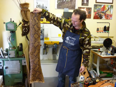 Python skin ready for making handbags and wallets in Maremma Italy