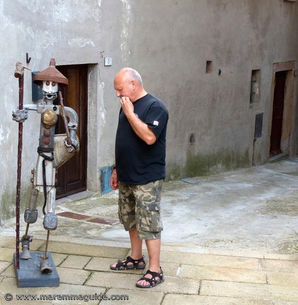 Scrap metal art sculpture in Roccatederighi Grosseto Italy