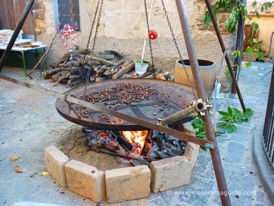 Roasting chestnuts in Monte Amiata Maremma Tuscany in November