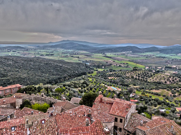 View across Capalbio to Monte Argentario from the roof of the Torrione castle tower.