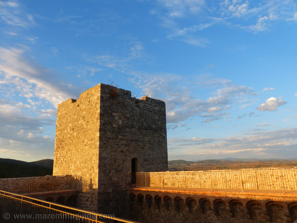 The Rocca Aldobrandesca Talamone at sunset: north fortress tower.