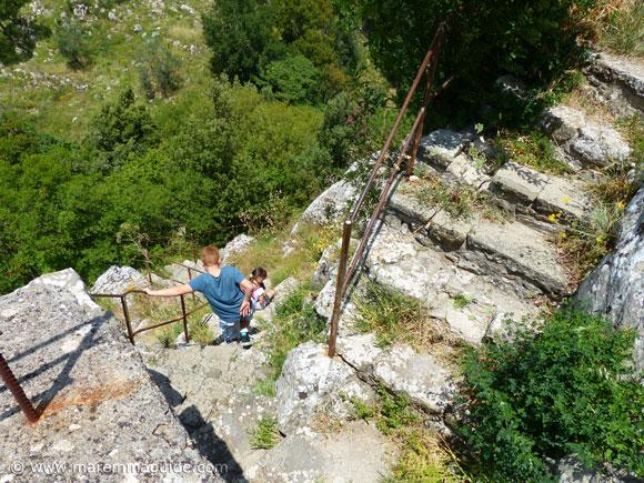 Climbing the Rocca Aldobrandesca in Roccalbegna Italy.