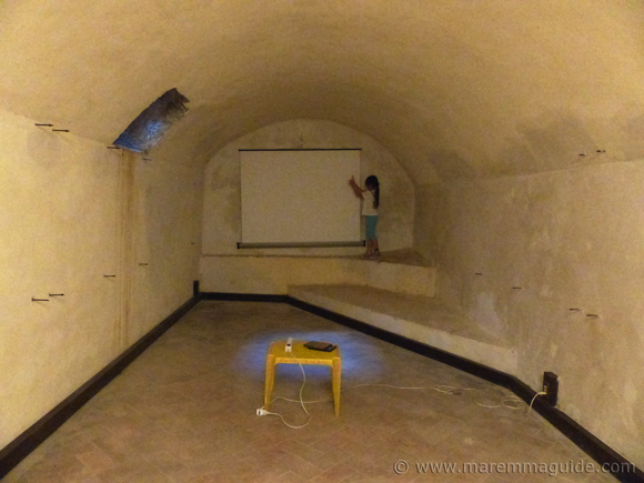Underground room in the Rocca Aldobrandesca fortress in Talamone Tuscany