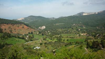 View from La Rocca di Campiglia Marittima in Maremma to La Rocca di San Silvestro