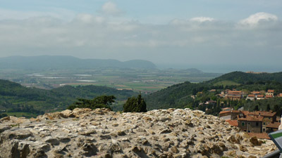 View of the Maremma Livornese coastline from La Rocca di Campiglia Marittima