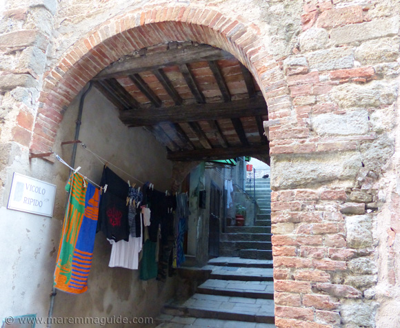 Roccastrada Tuscany Italy washing drying in medieval alley