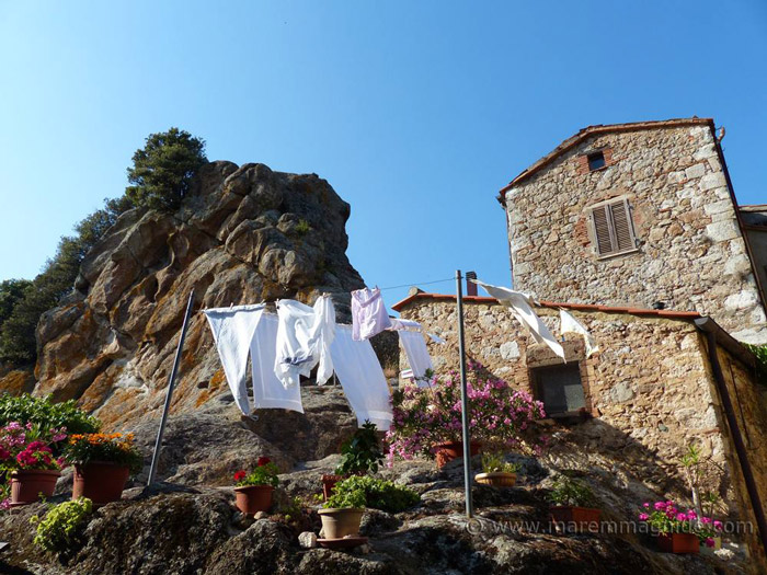 Washing drying in Roccatederighi Tuscany Italy.