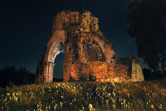 San Bruzio Abbet at night, Magliano in Toscana Maremma Tuscany Italy