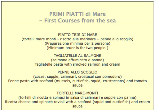 Seafood Menus From Tuscany Italy