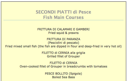 Seafood restaurant menus from Italy