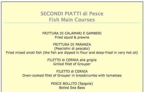 Seafood restaurant menus