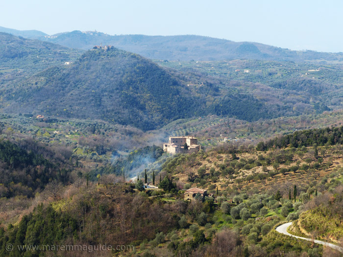 Seggiano Tuscany Italy with a view to Castello di Potentino and Montegiovi.