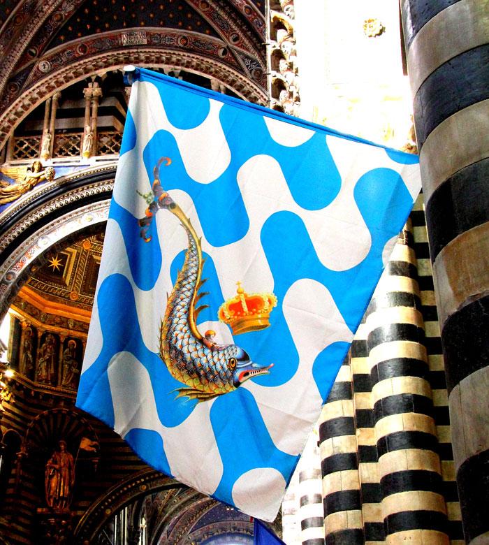Siena Palio banners: Contrada dell'Onda.