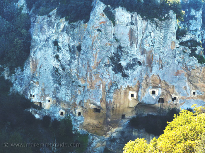 Colombaie - dovecotes - in the wall of the tufa gorge at Sorano Tuscany
