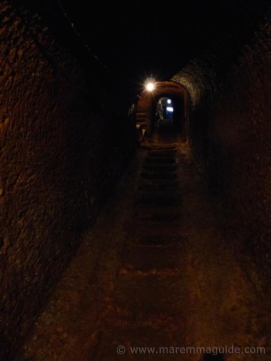 In the deep dark beneath Sorano in Maremma Tuscany Italy.