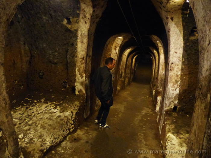 Events in Maremma Tuscany: open cellar beneath Sorano.