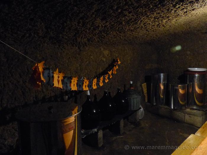 Sorano wine cellar at Halloween in Tuscany.
