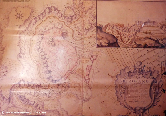 Ancient medieval map of Sorano Italy