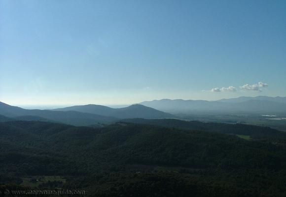 Sticciano view across Monte Leoni massif to Montepescali Tuscany