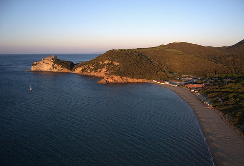 A kite aerial photography image of dawn over le Rocchette