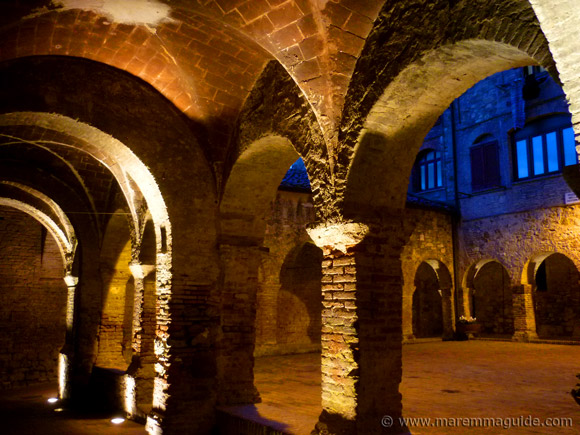 Suvereto: cloisters at night of ex Convento di San Francesco Maremma Tuscany