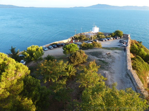 Talamone lighthouse and view.
