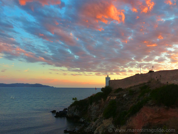 Talamone Italy at sunset.