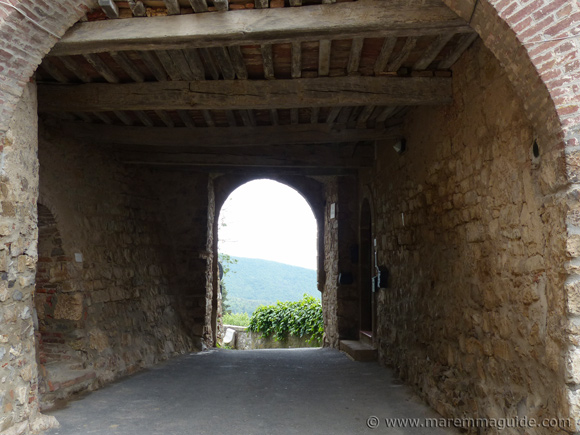 Medieval castle entrance in Tuscany Italy: Tatti in Maremma