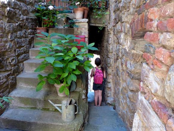Narrowest medieval street in Tatti Tuscany Italy