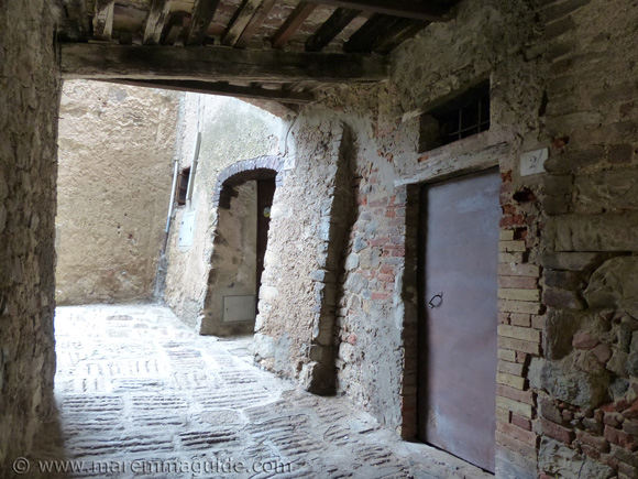 Middle ages street in Tatti Tuscany Italy