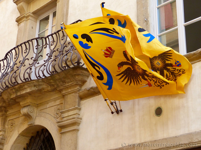 Palio races of Siena: Aquila Contrada flags.