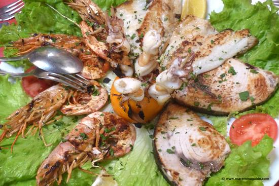 Grilled mixed fish at Trattoria Sbrana, Massa Marittima