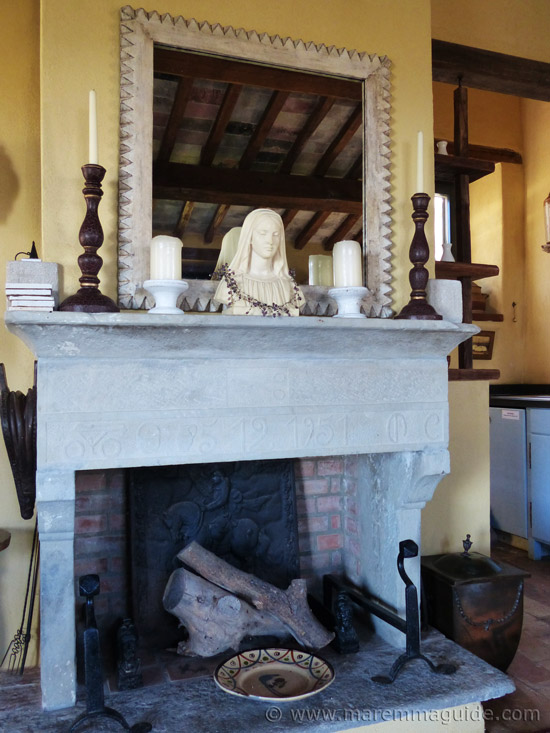Tuscan stone fireplace.