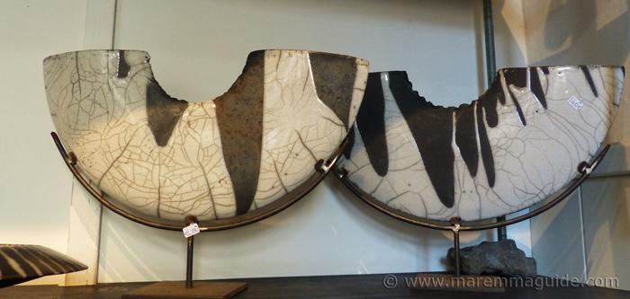 Completely handmade Tuscany ceramics by Raku artist Mara Funghi