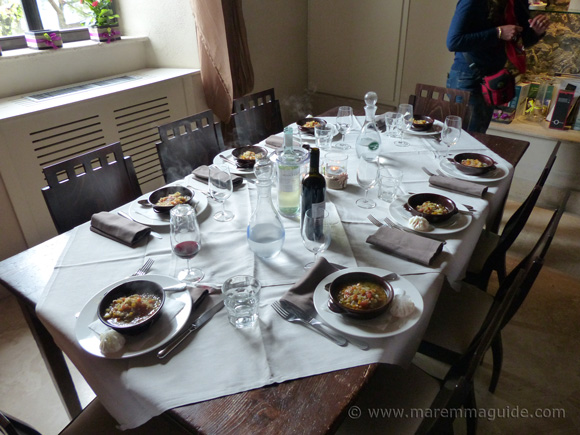 Lunch is ready at the Maremma cooking class