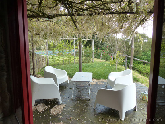 Maremma cottage with wisteria covered terrace and infinity swimming pool.