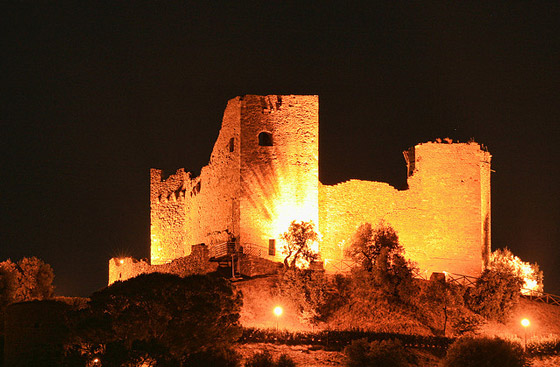 Tuscany Italy photos at night: Castello di Scarlino Maremma Italy