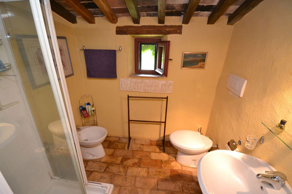 Tuscany farmhouse bathroom.
