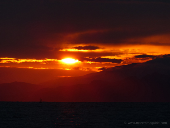 Black and red sunset over Isola d'Elba in October