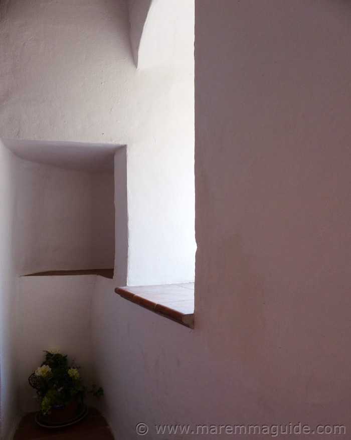 Nooks and crannies in medieval tower walls.