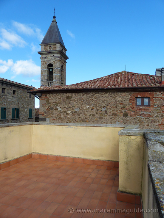 Rooftop terrace of house in Seggiano Tuscany.