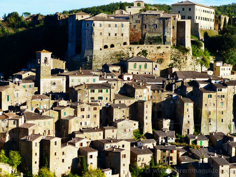Tuscany towns: the hill town of Sorano in Maremma.