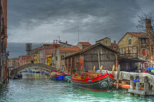 Venice Italy photos: a wonderful image of a waterway and bridge on a cloudy March day
