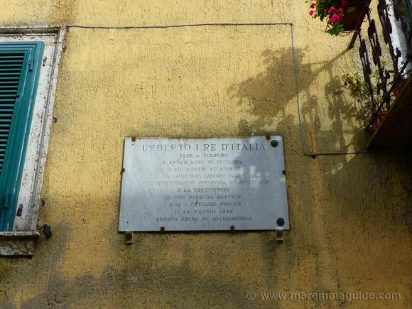 King Umberto I decree to return Colonna di Buriano to its ancient name of Vetulonia.