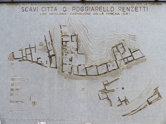Plan of excavated city of Vetulonia at Poggiarello Renzetti.